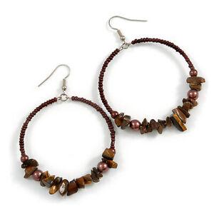 Large Glass/ Bead/Semiprecious Stone Hoop Earrings In Silver Tone/ Brown/ 50mm L