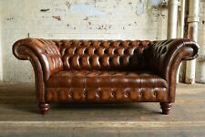 HANDMADE 2 SEATER VINTAGE ANTIQUE TAN LEATHER CHESTERFIELD SOFA COUCH