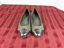Mia Jay Brown Fabric Silver Cap Toe Slip-on Ballet Flats Shoes Women Size 5