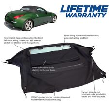 Fits: Nissan 350Z Convertible Soft Top With Heated Glass Window Black Twill