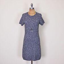 $245 Theory Cecile Black & White Gray Grey Wool Knit Sweater Jumper Mini Dress M