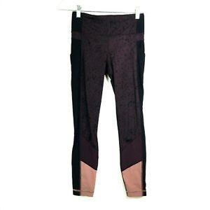Lululemon Purple Crop Tight Stuff Pant Thigh and Zip Pockets Size 4 Small
