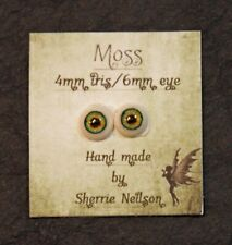 Glass Like Eyes - 4mm iris 6mm eyeball - color-Moss- Doll Making