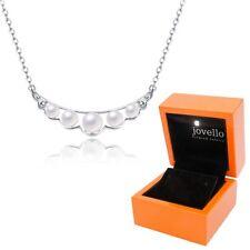 Perlen Kette Halskette aus 925 Silber mit 5 Perlen + exklusive LED Holzbox