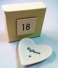 18th Birthday East of India White Porcelain Heart Dish - Keepsake Gift