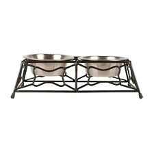 Vibrant Life Stainless Steel Feeding Bowls with Iron Stand Small for Dog or Cat