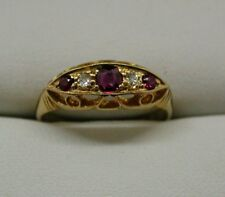 1912 Antique Beautiful 18 Carat Gold Ruby And Diamond Gypsy Ring Size P