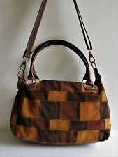 PICARD Germany Gorgeous Brown Leather & Cowhide Suede Patchwork Shoulder Bag