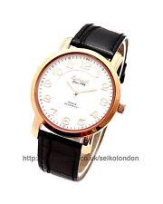 OMAX unisex dial blanco Reloj, Rosa Acabado Dorado, Seiko (Japón) movimiento