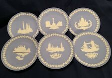 New Listing6 Wedgwood Blue Christmas Jasperware Collector Plates Made In England 1970-1975