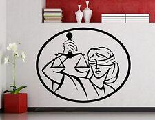 Lady Justice Wall Decal Law Femida Vinyl Sticker Art Decor Office Mural (7xx)