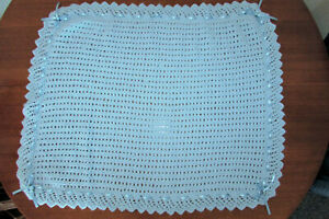 HAND KNITTED BABY BLUE PRAM , MOSES BASKET , COT BLANKET