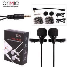 Microfono DOPPIO 2x Lavalier Arimic 3,5mm smartphone tablet PC interviste ARC9