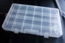 Clear Plastic 24 Adjustable Compartment Storage Box with Lid for beading, sewing