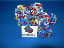 NEW 12  LARGE CLEAR ACRYLIC DICE w/ COLORED PIPS (22mm) 0.866 INCHES BUNCO