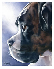 """BRINDLE BOXER"" Watercolor Dog ART Print Signed by Artist DJR"