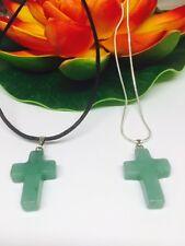 Green Jade Gemstone Cross On Chain Or Leather - Unisex - Healing - Peace- Wisdom