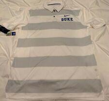 Duke University Blue Devils White Gray Nike Dri-Fit M Medium Golf Polo Shirt NWT