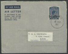Aden KGVI King George VI 50c on 6a air letter used 1952 to England