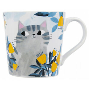 Planet Cat Mug Time Spent With A Cat from Shruti Cute Cat amongst Flowers design