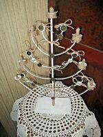 ancien bougeoir 7 branches-chandelier-candélabre vintage en métal-blanc rechampi