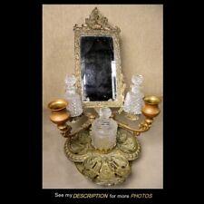 Antique Victorian Brass Vanity Mirror Cut Glass Perfume Bottles Cupids Griffins