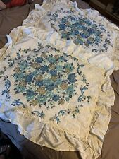 VINTAGE SATIN LOOK TAN & BLUE ROSES FLORAL PILLOW SHAMS SET King QUILTED RUFFLED