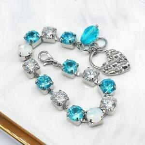 Harlow hand made Aqua Blue, Cubic Zirconia CZ Bracelet Wedding-Gift-Bridal Jewel