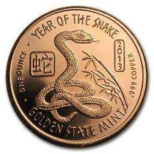 1 oz 999 Kupfer Medaille Copper Jahr der Schlange Year of the Snake Neu Selten