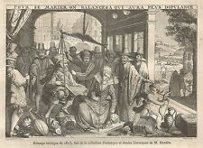 A5500 Stampa satirica sul matrimonio - Xilografia antica del 1850 - Engraving