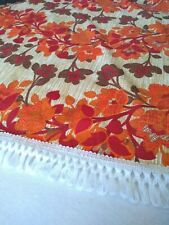 Vintage Retro Bedspread double orange floral design with white fringing