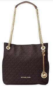 New Michael Kors Signature Jet Set Chain Medium Shoulder Bag brown gold bag tote