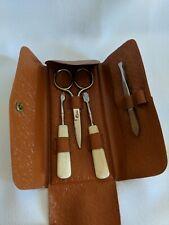 Vintage Germany Manicure Set Nail Kit Mini Travel Snap Case