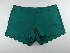 NEW J Crew Women 16 Solid Scalloped Linen Blend Shorts Green Casual Outdoor Q