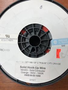 18 AWG Gauge Solid Hook Up Wire Orange 1000 ft UL1007 300 Volts