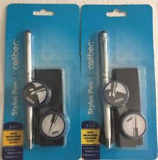 2 Silver Caliber 2-In-1 Stylus Ballpoint Pen 1.0mm Black Ink w/ Microfiber Cloth