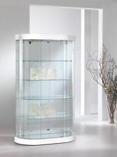 Vetrina Vetrinetta Espositore Display vetro a muro parete  semiovale pelle