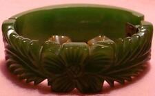 Vint Green Carved Bakelite Bangle/Cuff Bracelet Hinged Carved Flower Leafy GREEN