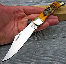NAHC Geniune Orange Bone Handle Large Folding Hunter Pocket Hunting Knife