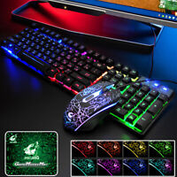 Russian LED Backlit Waterproof Mechanical Gaming PC Keyboard USB Wired Mouse Pad
