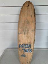 1960's Nash Fifteen Toes Skateboard Wood Metal Wheels Blue Skate Sidewalk Surf