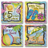 Mixed Absorbent Stone Coasters Set of 4 Paradise Tropical Sand Beach 5 O'Clock