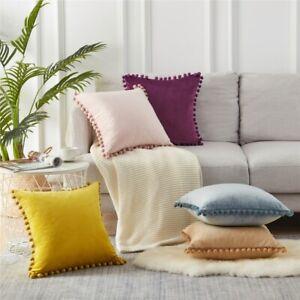 Pack of 2 Soft Velvet Solid Pom Poms Throw Pillow Cover Cushion Case Home Decor