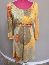 Flora Kung Silk Summer Dress Size 4 Small Yellow Floral