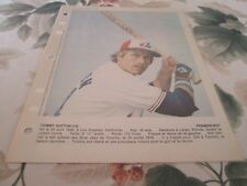 TOMMY HUTTON PHOTO COLOR 8 BY 11 MONTREAL EXPOS 1979 DIMANCHE DERNIERE HEURE
