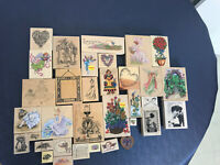 rubber stamp lot of 33 stamps crafting Victorian Angels Hats Floral Flowers Hear