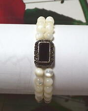 Sterling Silver, Marcasite And Mother Of Pearls Double Beaded Bracelet. 7 Inches