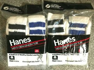 6 pair of hanes cotton tube socks white with stripes made in usa vintage 1992