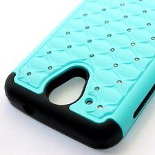 For HTC Desire 520 - HARD & SOFT RUBBER HYBRID SKIN CASE MINT BLUE DIAMOND BLING