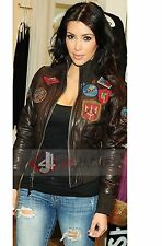 Ladies TOP GUN Tan BOMBER Pilot Aviator Real Lambskin Leather Women's Jacket